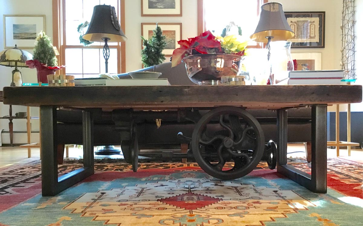 reclaimed wood table wheel